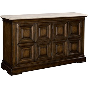 Rockwell Traditional Sideboard with Travertine Stone Top and Two Pull-Out Shelves