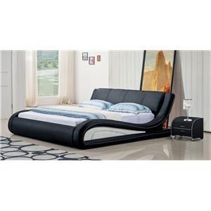 Modern Contemporary King Sleigh Bed Black/White