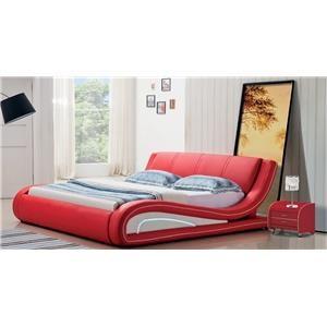 Modern Contemporary Queen Platform Sleigh Bed Red/White