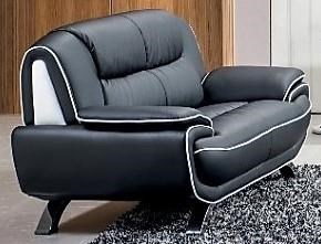 Contemporary Leather Winged Loveseat Black W/White Trim