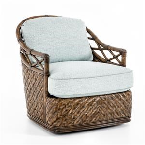 Diamond Cove Swivel Chair with Wicker and Rattan Accents