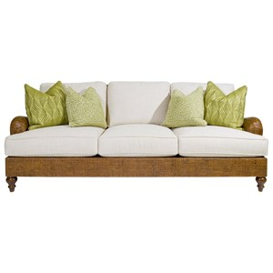 Harborside Sofa with Woven Dark Wicker Frame