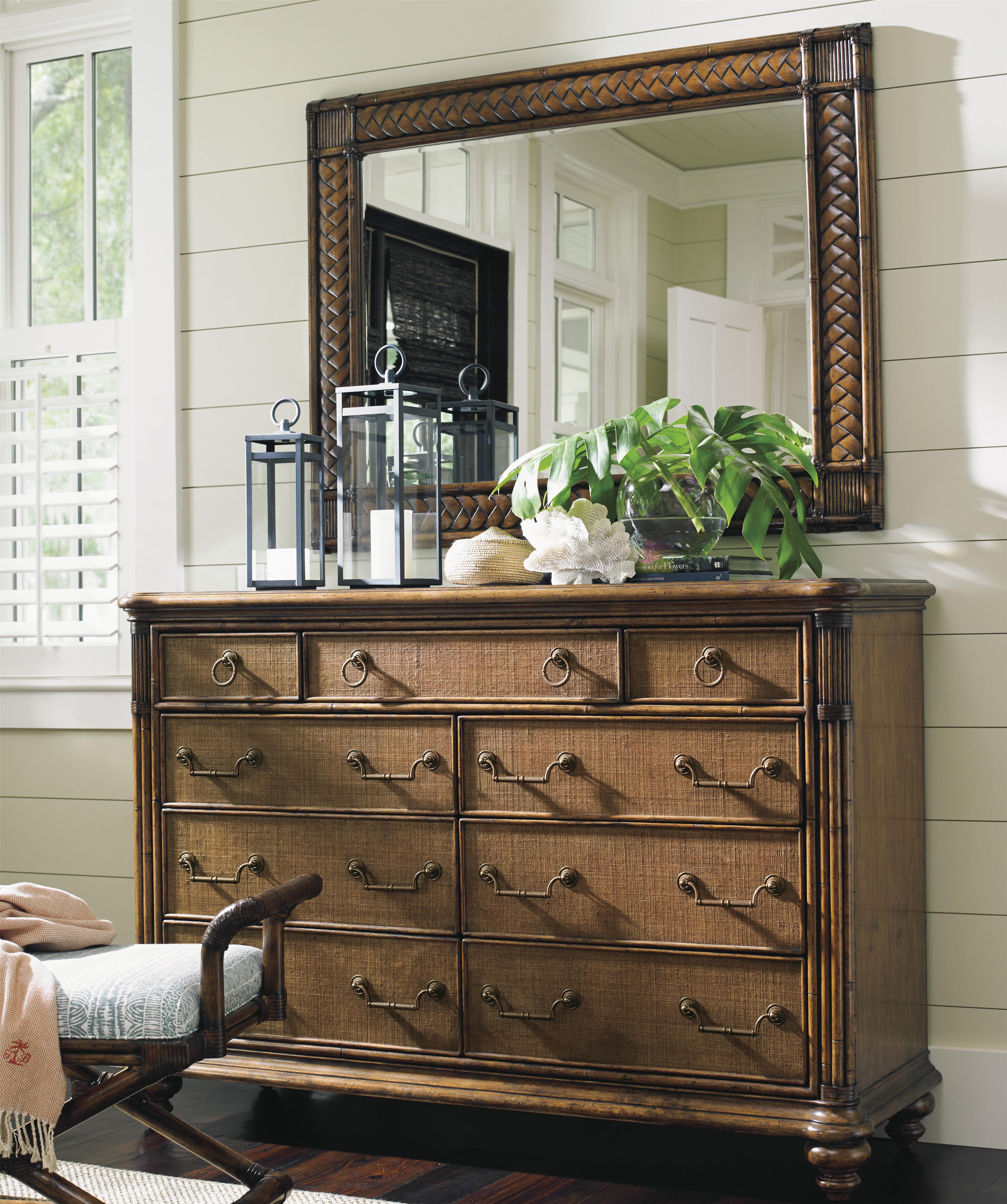 Bali Hai Breakers Double Dresser and Mirror Set by Tommy Bahama Home at Baer's Furniture