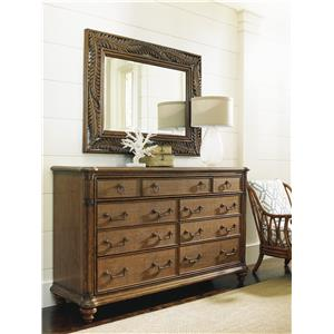 Costa Sera Triple Dresser and Seabrook Landscape Mirror Set