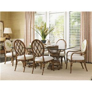 Tropical Double Pedestal 7 Piece Dining Set