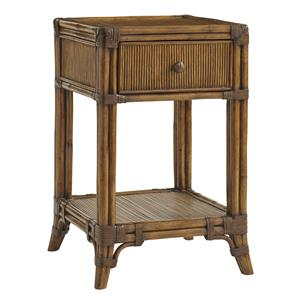 Del Sol Bedside Table with Open Display Shelf and Pencil Rattan Detailing