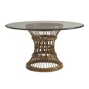 "60"" Round Glass, Single Pedestal Dining Room Table"