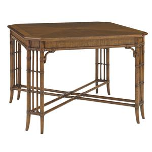Tropical Tarpon Cove Game Table with Leather-Wrapped Rattan Stretcher