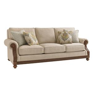 Quickship Shoreline Sofa with Fern Leaf Carvings