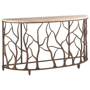 Demilune Bannister Garden Console Table with Honed Travertine Top & Organic Branch Designed Base