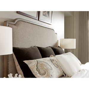 Stone Harbour Queen-Size Headboard with Fabric Upholstery and Nailhead Border