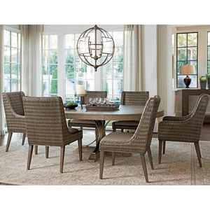 Seven Piece Dining Set with Atwell Table and Brandon Woven Chairs