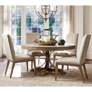 Five Piece Dining Set with Atwell Table and Deveraux Custom Fabric Chairs