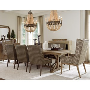 Nine Piece Dining Set with Pierpoint Table Woven Chair and Host Chairs Set