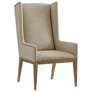 Milton Host Chair in Berwick Tan Fabric with Nailhead Studs