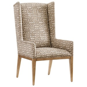 Milton Host Chair with Nailhead Studs and Custom Fabric