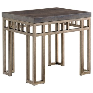 Montera Travertine End Table with Metal Base