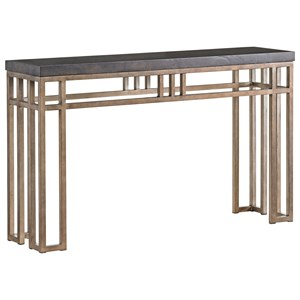 Montera Travertine Sofa Console Table with Metal Base