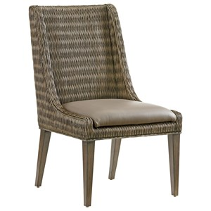 Brandon Woven Rattan Side Chair with Gray Faux Leather Seat