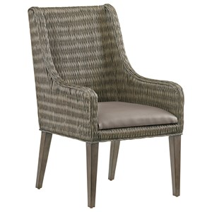 Brandon Woven Rattan Arm Chair with Gray Faux Leather Seat