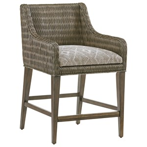 Turner Woven Rattan Counter Stool with Custom Fabric Cushion