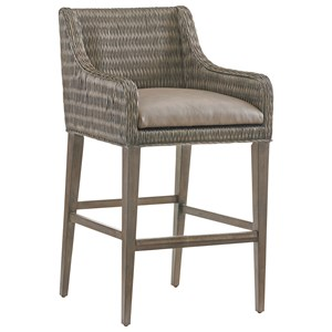 Turner Woven Rattan Bar Stool with Gray Faux Leather Seat