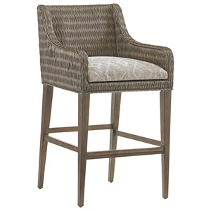 Turner Woven Rattan Bar Stool with Custom Fabric Cushion
