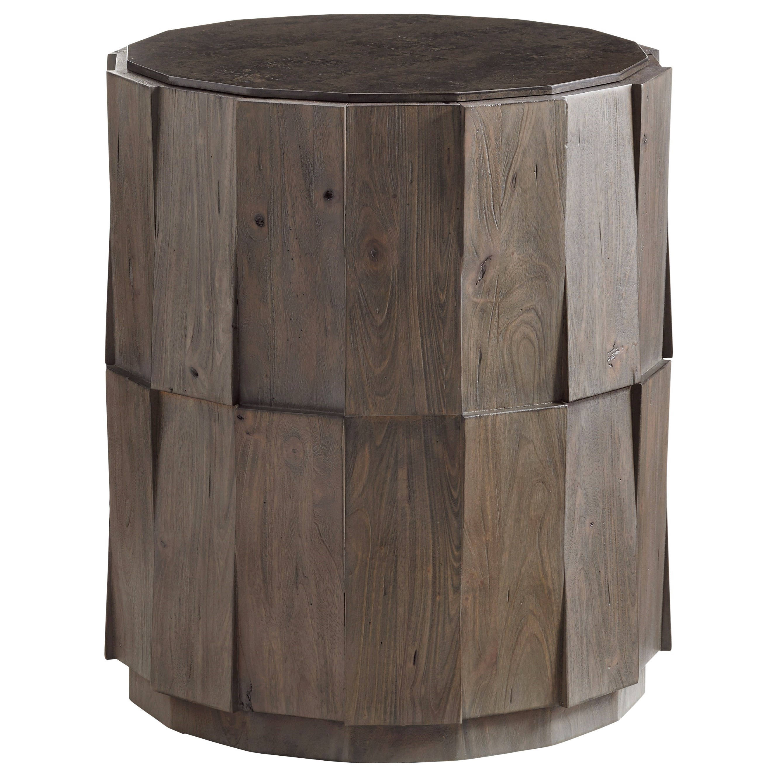 Cypress Point Everett Round Travertine End Table by Tommy Bahama Home at Stuckey Furniture