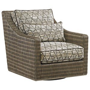 Hayes Woven Wicker Swivel Chair with Kidney Pillow