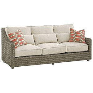Hayes Woven Wicker Sofa with Additional Pillows for Back Support