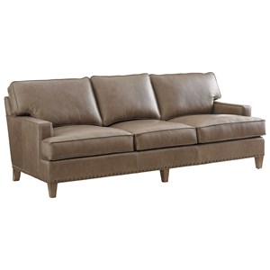 Hughes Leather Sofa with Track Arms and Large Nailheads