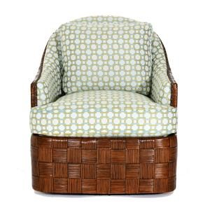 Nagano Swivel Chair with Patterned Rattan Frame