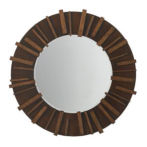 Kobe Round Mirror on Dark Hickory Frame