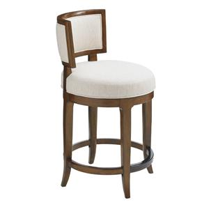 Macau Swivel Counter Stool in Ivory