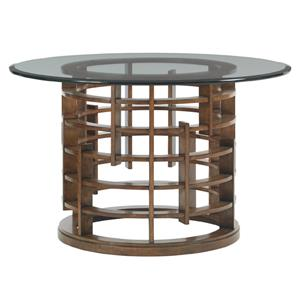 """Tommy Bahama Home Island Fusion Meridien Dining Table with 60"""" Glass Top"""