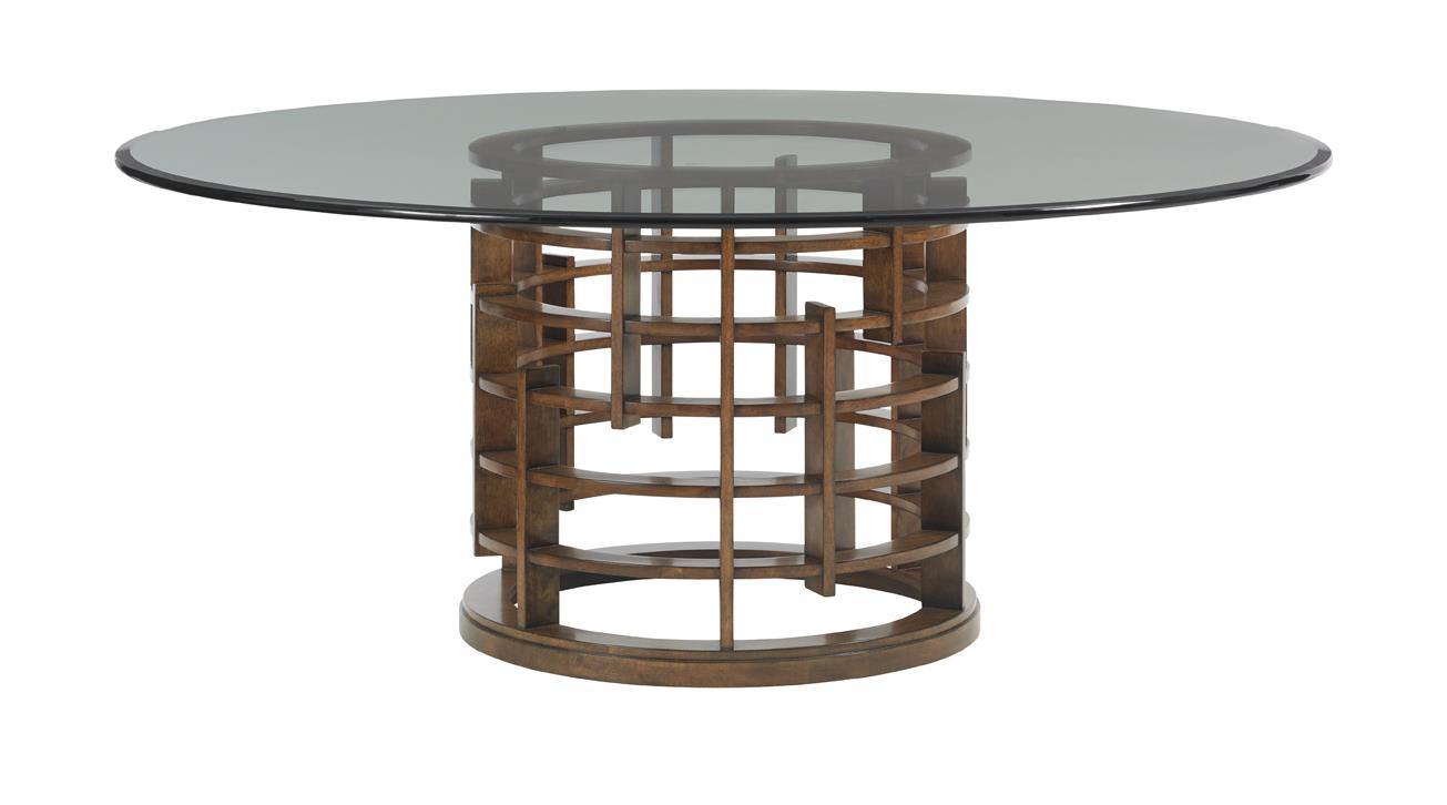 """Island Fusion Meridien Dining Table with 72"""" Glass Top by Tommy Bahama Home at Baer's Furniture"""