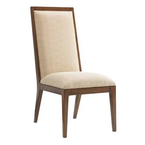 Natori Slat Back Side Chair in Cresting Waves Fabric
