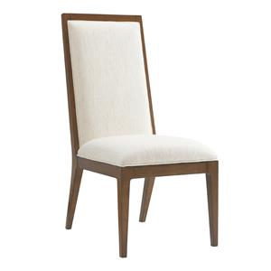 Natori Slat Back Side Chair in Ivory Fabric