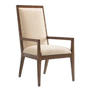 Natori Slat Back Arm Chair in Cresting Waves Fabric