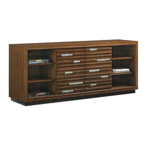 Princeville Media Console with Fused Glass Accents and Wire Management