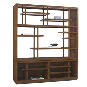 Taipei Asian-Inspired Media Bookcase with Wire Management Openings