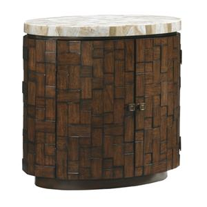 Banyan Oval Accent Table with Stone Top and Interior Storage