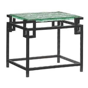 Hermes Reef Glass End Table with Metal Base