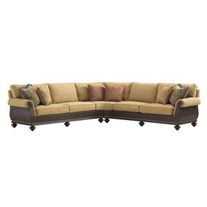 Westbury Sectional Sofa with Woven Rattan Detailing and Classic Turned Feet