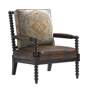 Maarten Leather Chair In Croc-Embossed Leather and Tapestry Fabric