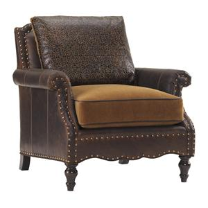 Belgrave Leather Chair with Brown Leather Upholstery and Decorative Nailheads