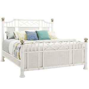 Queen Pritchards Bay Panel Bed with Leather Wrapped Rattan and Silver Leaf Finials