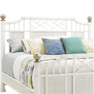 King Pritchards Bay Panel Headboard with Leather Wrapped Rattan