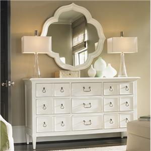 9 Drawer Grotto Isle Dresser & Paget Mirror with Quatrefoil Diamond Silhouette