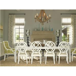 11 Piece Rectangular Castel Harbour Dining Table with Mill Creek SideChais & Aqua Bay Arm Chairs